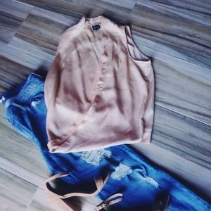 Tops - 2 for $10 Plunging Neck-Line Beige and Peach Top